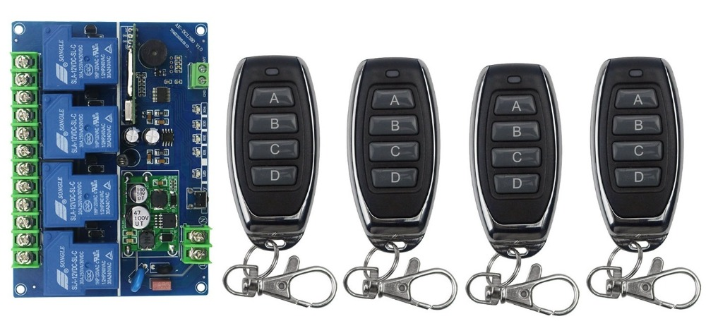 12V 24V 36V 48V 4CH 30A RF Wireless Remote Control Relay Switch Security System Garage Doors Gate Electric Doors 4* remote 4ch rf wireless remote control relay switch security system1receiver