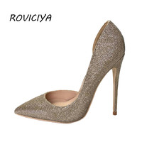 Sexy Women Pumps Glitter Pointed Toe Thin Heels Gold Shoes Woman 12 cm Stiletto Women Party Shoes LX003 ROVICIYA