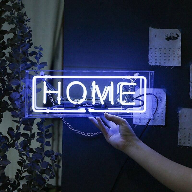 Купить с кэшбэком 8 Kind LED Neon Lights Neon Sign Panel Lights Christmas Xmas Party Colorful Glass Neon Acrylic Box for Home Room Bar Decoration