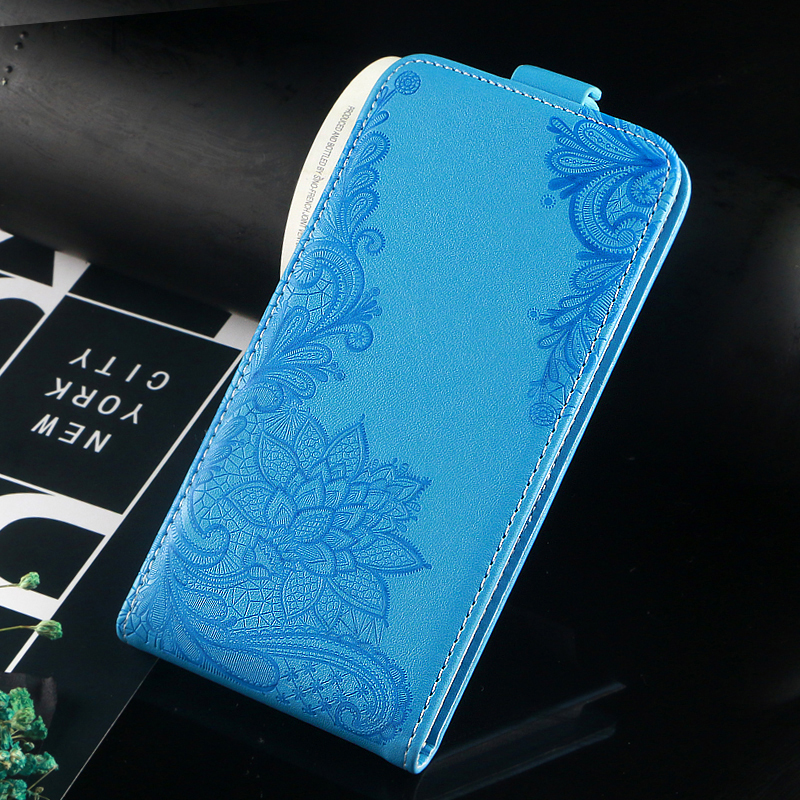 Vintage Business Embossed flower butterfly towel flip up and down leather case cover for XOLO Era 3X
