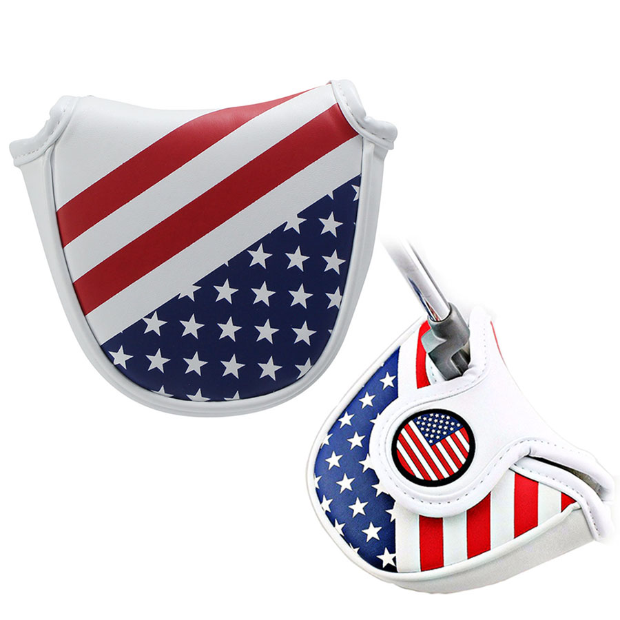 Golf Mallet Head Cover Putter Cap with Magnetic Closure American Style Pattern Semi-circular Golf Protective Putter Caps