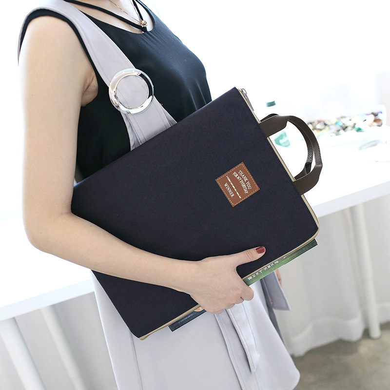 Multi-functional Solid Color A4 Nylon Document Bags Filing Products Portable Waterproof Oxford Bag Notebooks Pens Computer WJD25