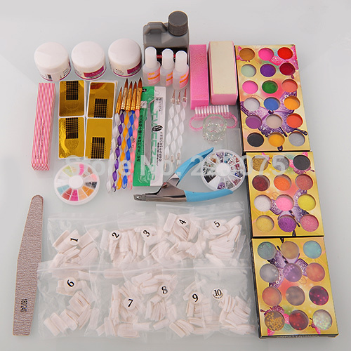 Hot Nail Art Kit 42 Acrylic Powder Brushes Sanding File Brush Glue Tips Hot Gift