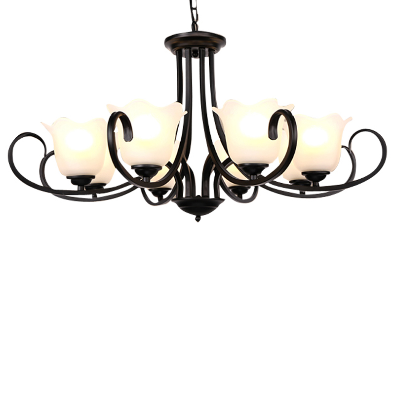 American iron LED chandelier bedroom luminaire dining room fixtures retro living room suspended lamps restaurant hanging lights
