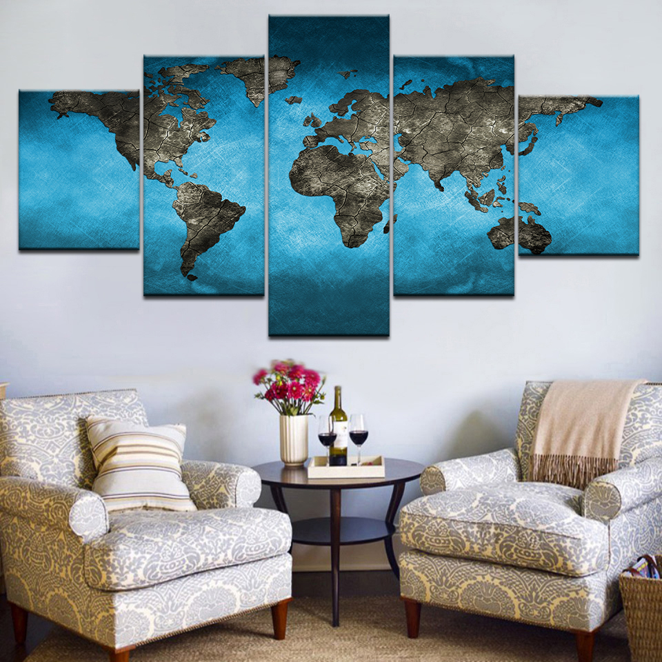 Modular Canvas Wall Art HD Prints Pictures Home Decor 5 Pieces Abstract Light Blue World Map Paintings Office Posters Frame