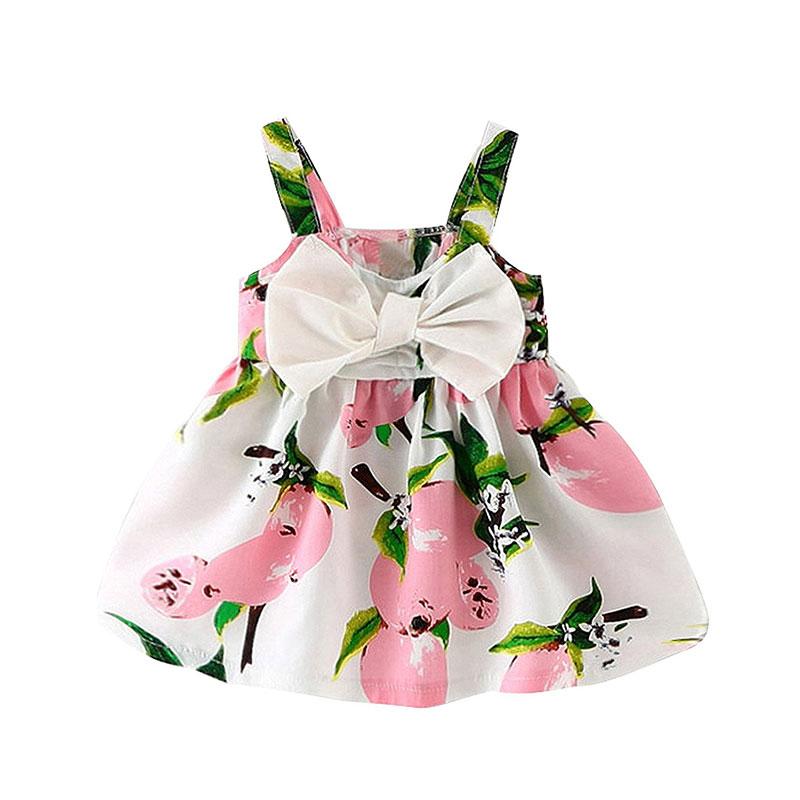 e40bf7196 Newborn baby girl clothes brand sleeveless print bow dress 2018 ...