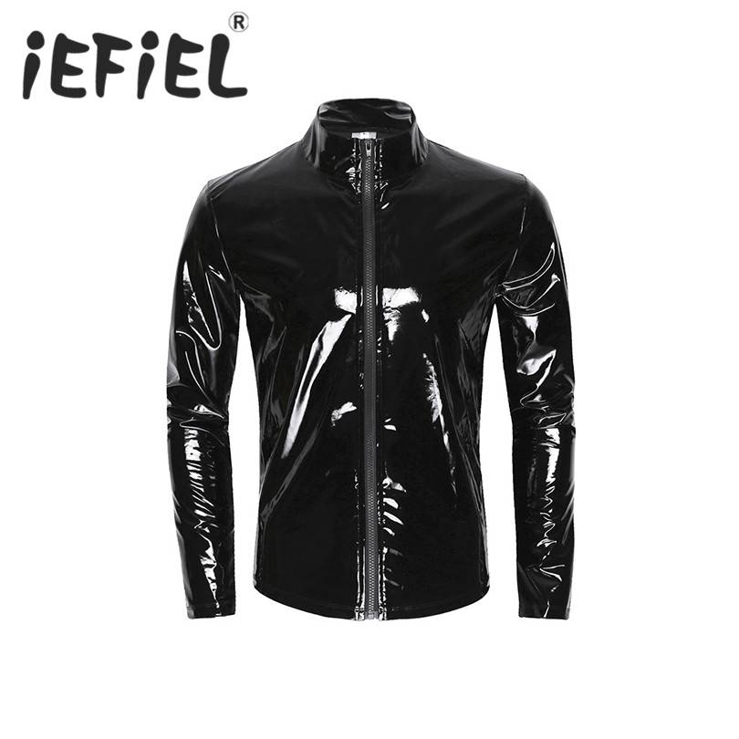 iEFiEL Long Sleeve Patent Leather Men Shiny Metallic Front-Zip Stand Collar Tops Wet Look Nightclub Style Shirt Party Costumes