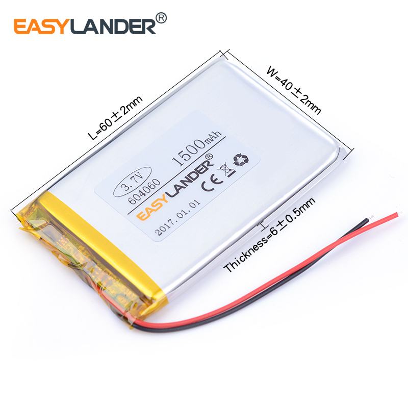 604060 3.7V 1500mAh Rechargeable li Polymer Li-ion Battery For MP3 MP4 gaming Mouse PSP DVR GPS Lampe speaker toys 603959 604159 ...