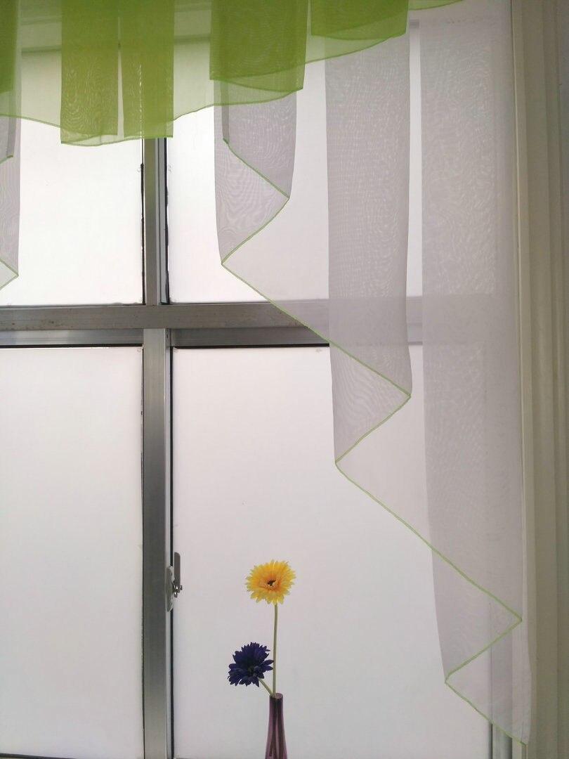 Kontrast Farbe Overlocking Stil Plissee Volant Sheer Volie Balkon ...
