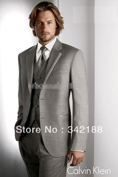 Men complete designer gray suit wedding dress and groom groomsman groomsmen    M suit groom dress 5777f4c21df8