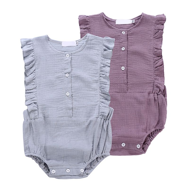 Baby girl clothes newborn romper girls solid flying seeves triangle dress linenears onesies romper