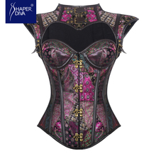 Shaper diva Corset Bustier Purple Gothic 12 Steel Boned Overbust Steampunk Corset Tops Women Push Up Corset Cosplay Clothing