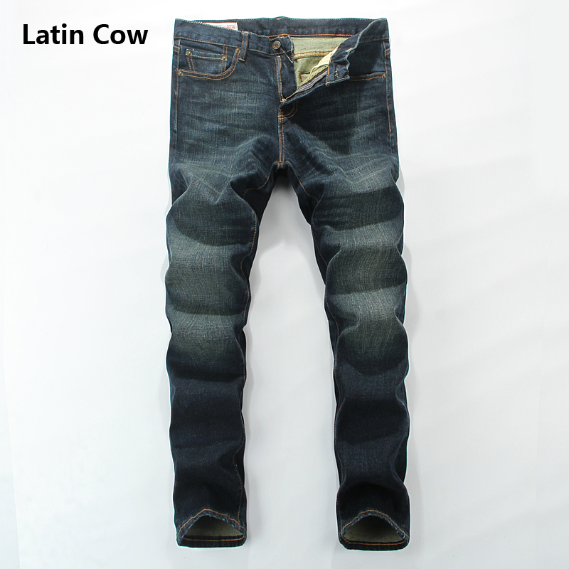 High Grade Distressed Dark Blue Stretch Jeans Men Logo Latin Cow Brand Clothing Mid Stripe Men`s Moto Biker Jeans Uomo 801-B rl629 men s blue jeans slim fit denim ripped pants uomo high quality designer brand clothing moto biker jeans with logo men