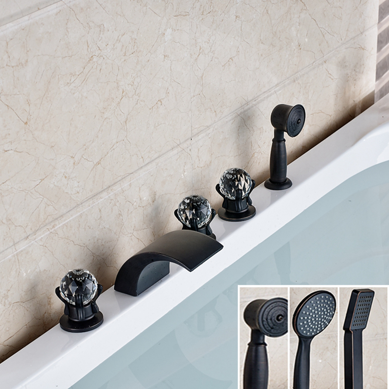 Widespread Oil Rubbed Bronze Waterfall Bathroom Tub Faucet Crystal Handle Mixer