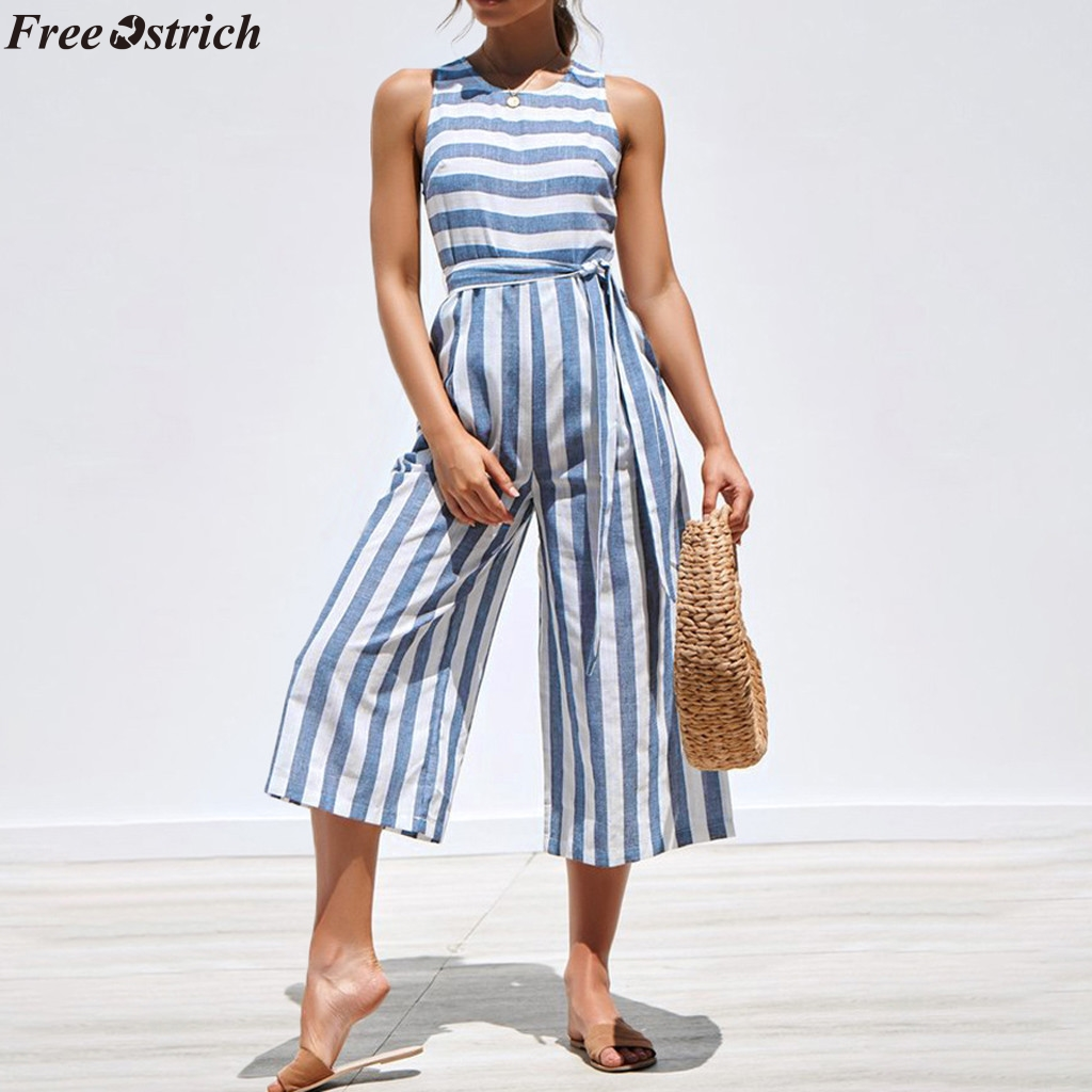 FREE OSTRICH Female Slim Fit Vertical Stripe V-neck Long Jumpsuits Fashion Ladies Button Sleeveless Wide Leg Rompers Plus Size