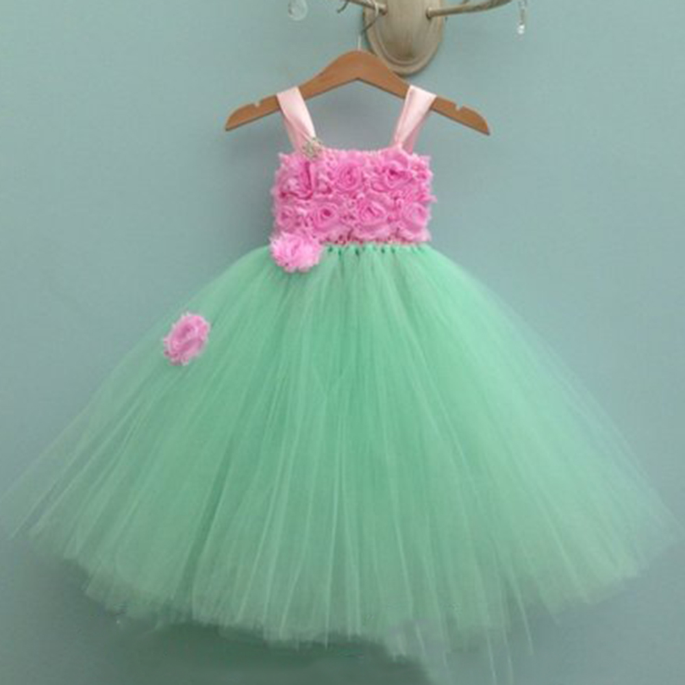 Mint Green O-neck Sleeveless New Year Dresses for Girls Wedding Dress Children Vintage Rose Flower Tutu Ball Gowns