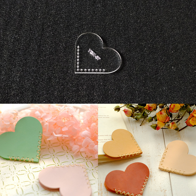 Lychee Life 1 PC Heart Shaped Sewing Pattern Acrylic Love Bookmark Stencil Template DIY Handmade Leather Crafts Supplies