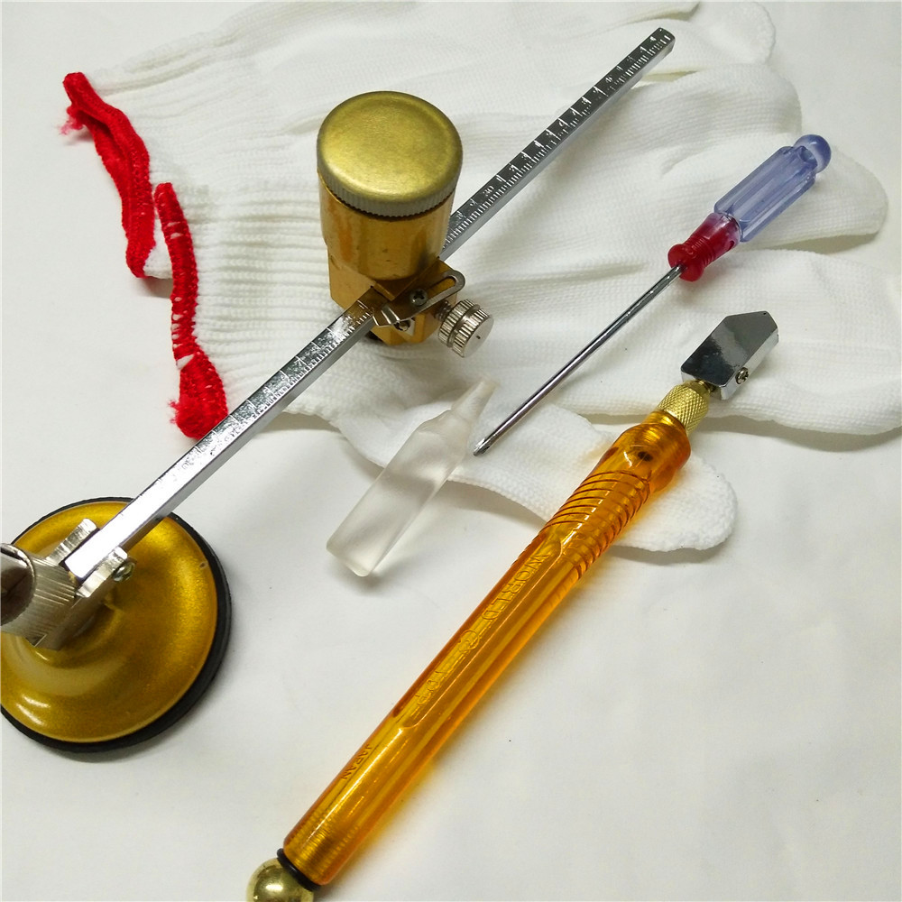 5stk / set 40 cm glaskompasskniv Röklampa svart maskin kärnglasskärkniv Glasrunda verktyg