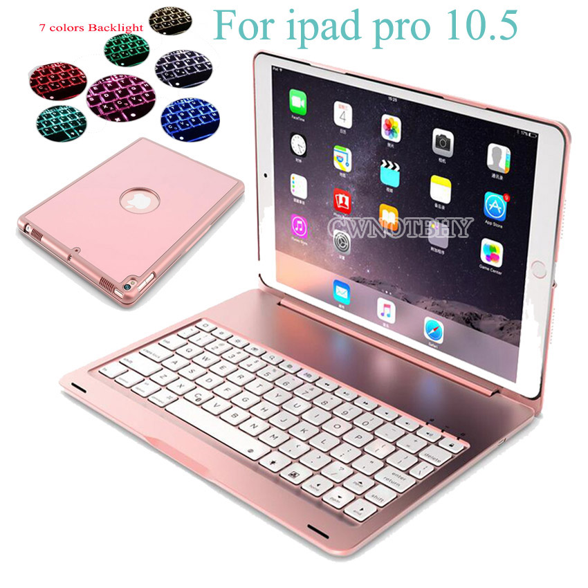 7 Colors Backlit Light Wireless Bluetooth Keyboard Case For IPad Pro 10.5 2017 A1701 A1709
