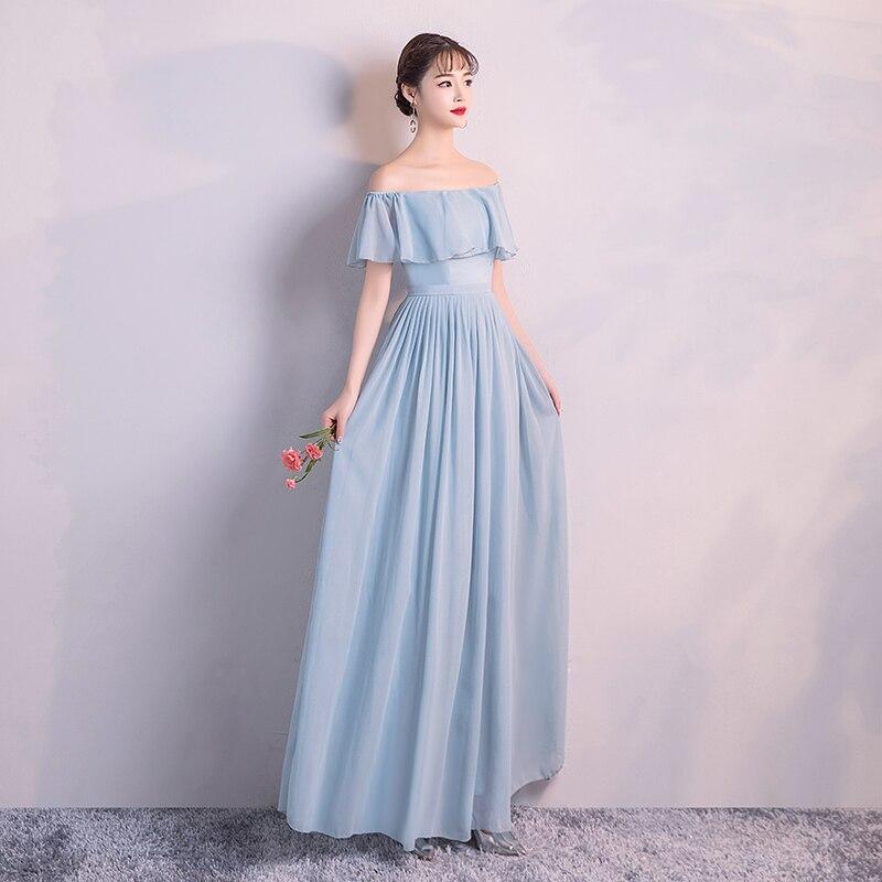 Bridesmaid  Dress For Wedding Party  Blue Colour Long Dress Women Chiffon Dress Back Of Zipper