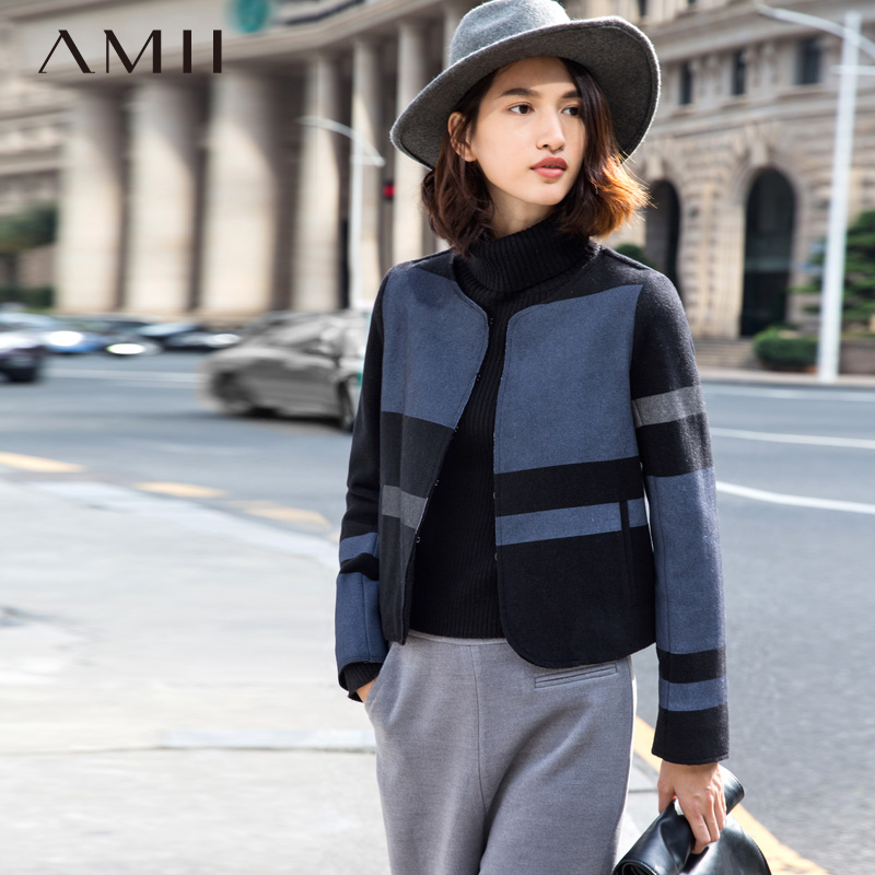 Amii Casual Women Woolen Coat 2018 Winter Short Patchwork Contrast Color Covered Button Female Wool Blends
