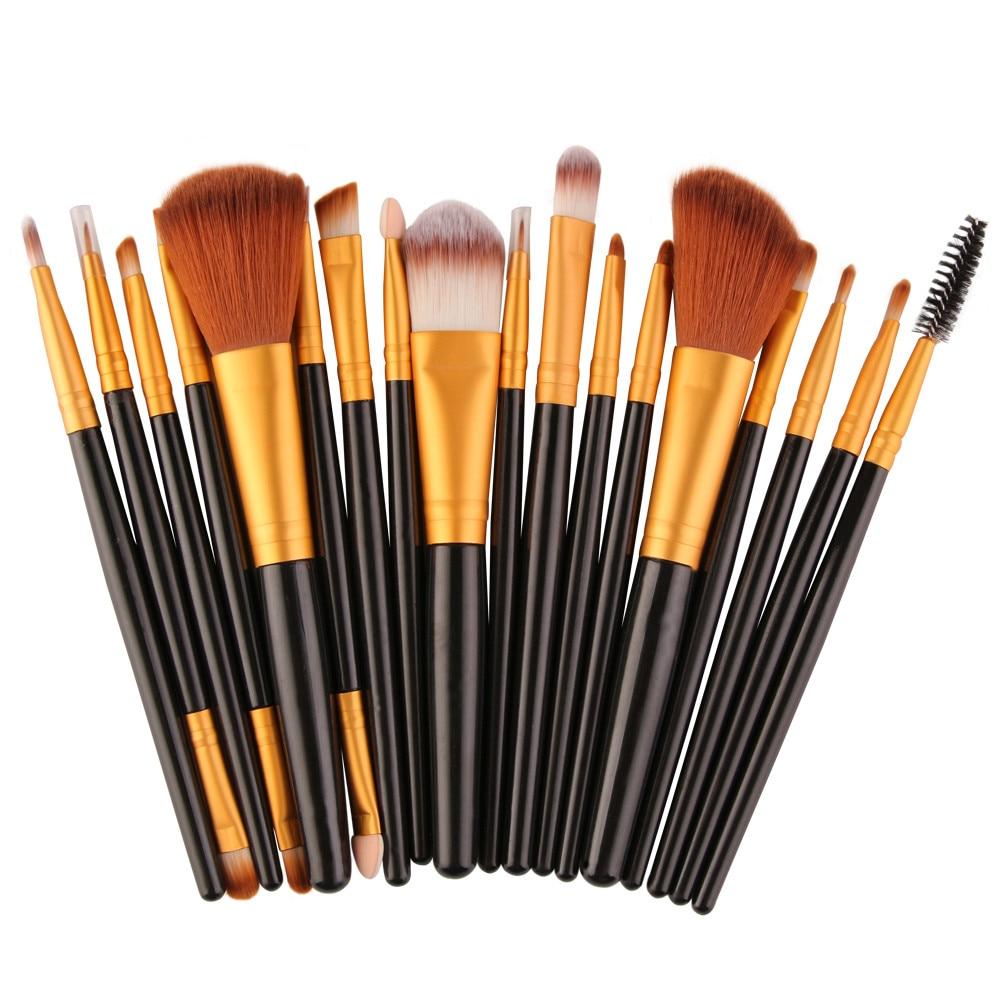18 pcs/set Makeup Brush Set Rose gold Wood Handle Hair Pro Brush for Powder Foundation Blusher Eyeshadow Blusher Make Up Brush#5 artdeco blusher 18 цвет 18 beige rose blush
