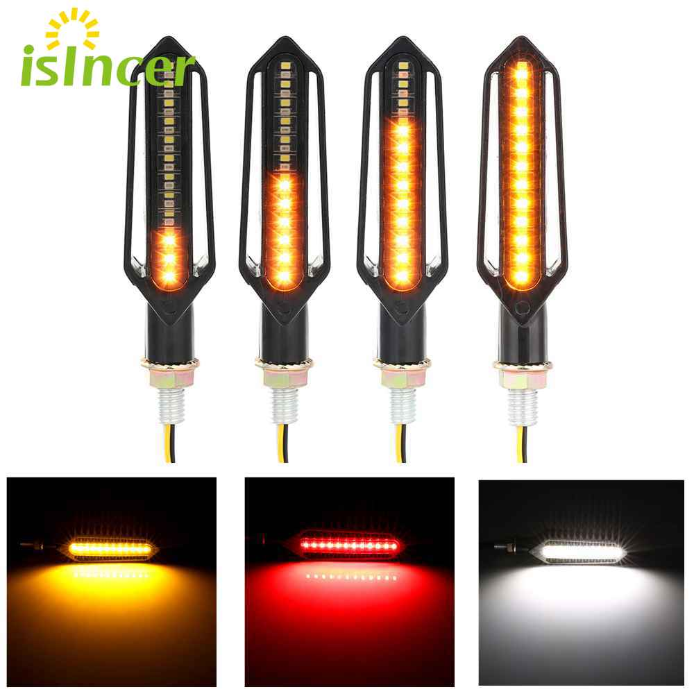4 Pieces Mini Motorcycle Turn Signal Light Indicator LED Blinker Sliver/Black Moto Turn Signals Amber Flashing Lamp DC 12V