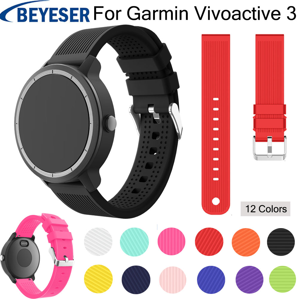 20 mm watch strap For Garmin vivoactive 3 silicone band for Garmin 645 watchband for Galaxy watch Active replacement wrist belt in Watchbands from Watches