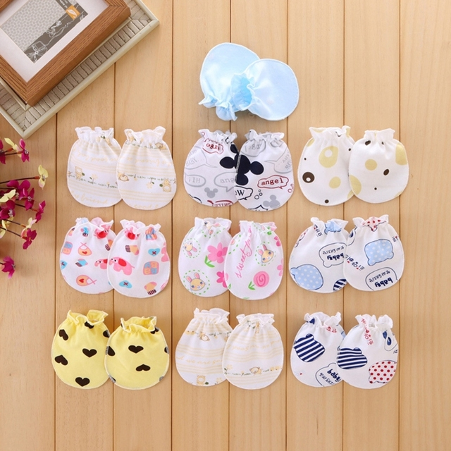 3f6d70aac 2Pcs Cotton Blend Baby Gloves Anti Scratch Face Hand Guards ...