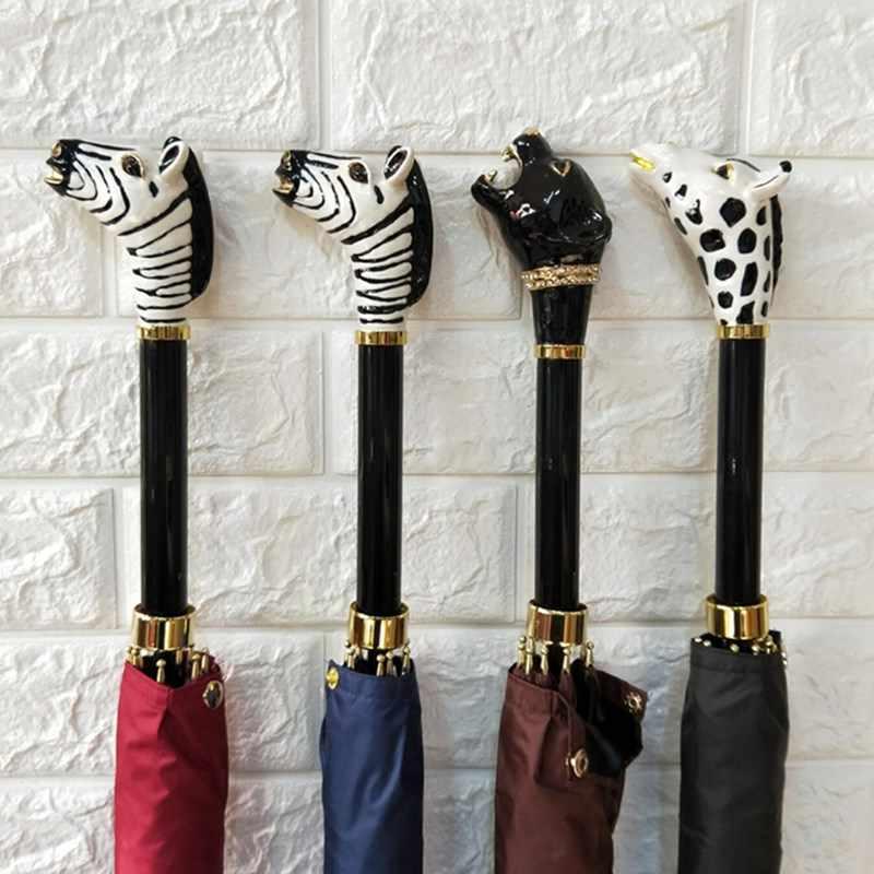 Parapluie Animal créatif pluie femmes et hommes Parapluie semi-automatique à Long manche élégant Gentleman crème solaire Parapluie Inverse
