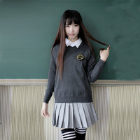 S XXL Korean School Uniforms For Girls White Blouse Gray Sweater Pleated Skirt College Wind Cute