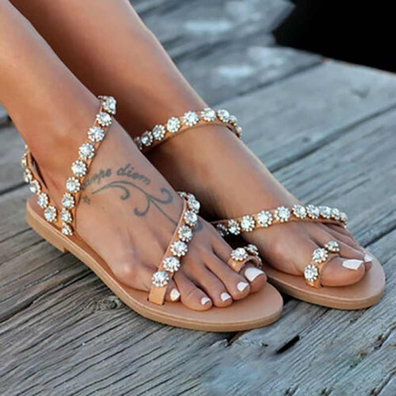 PUIMENTIUA Mùa Hè 2019 Giày Sandal Nữ Pha Lê Nữ Đi Biển Đế Bằng Xỏ Ngón Nữ Đáy Cao Su Dép Plus Kích Thước
