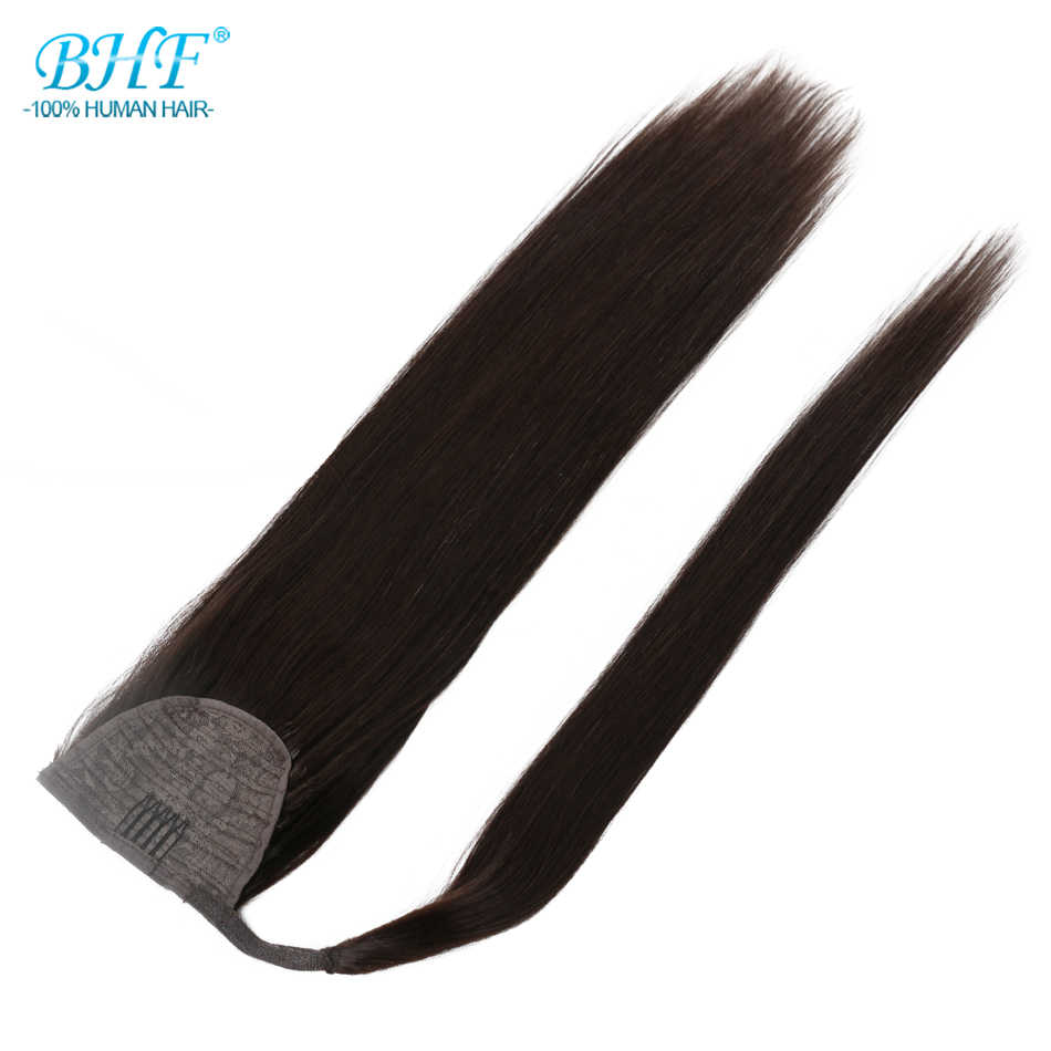 BHF Human Hair Ponytail Straight European Machine Remy Ponytail Wrap Around Horsetail wig 100g Tails