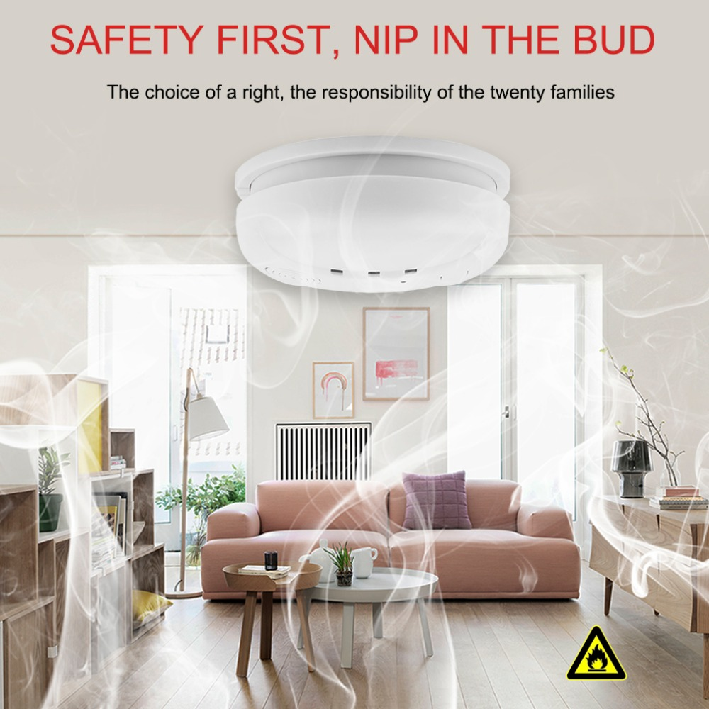 433MHz Wireless Smoke Detector Fire Sensor For GSM/wifi Security Home alarm system Auto Dial alarm Systems цена и фото