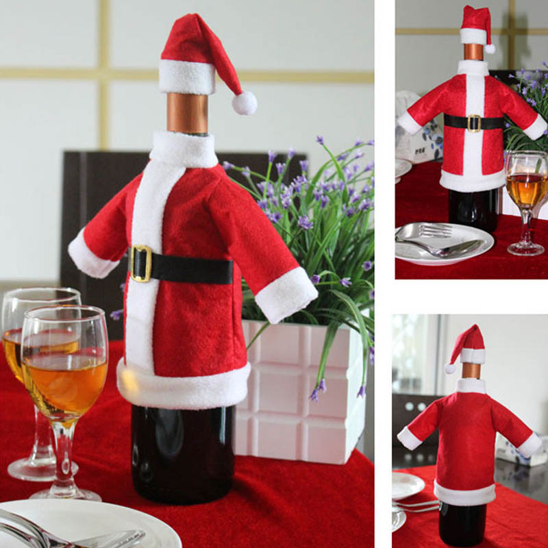 Fashion 2pcs/ Set  Red Wine Bottle Covers Clothes With Hats Christmas Decoration  For Home Christmas Dinner Party Or Gift