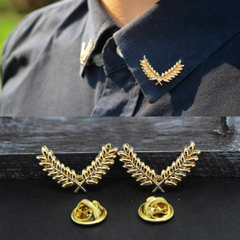 fashion suit shirt collar corner buckle wheat ear brooch simple three-dimensional metal collar buckle brooch couples jewelry