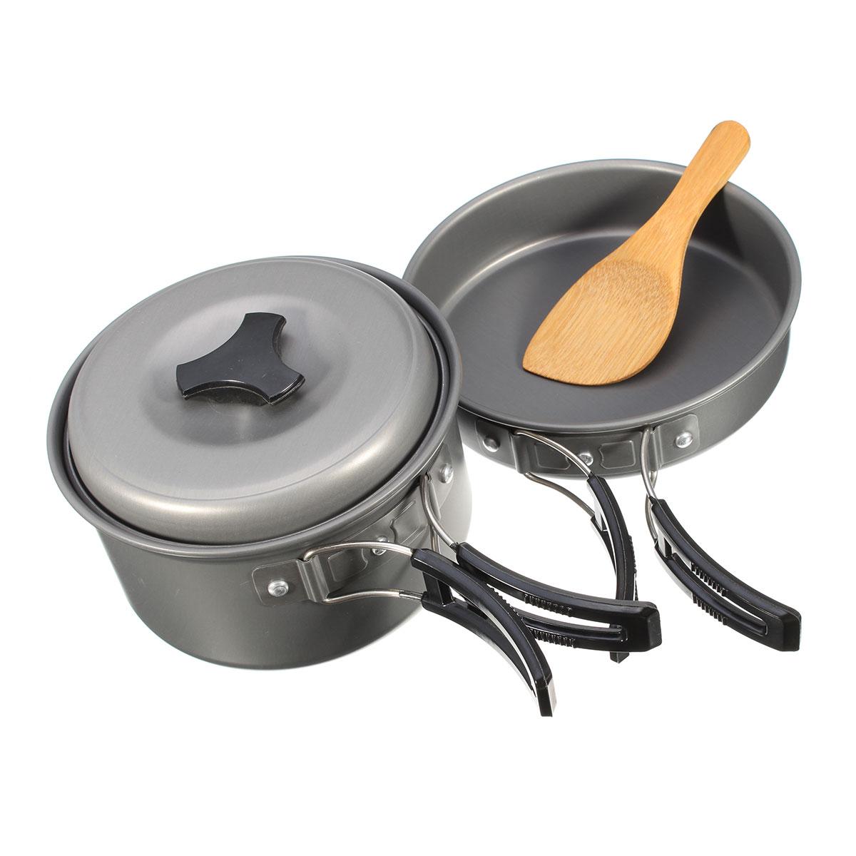 1 satz Beweglicher Im Freien Kampierender Wandern Kochen Nonstick Schüssel Töpfe Pfannen Panela Kochgeschirr Gesetzt Kochen Werkzeuge outdoor geschirr
