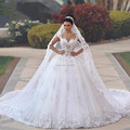 Vestido de noiva princesa Wedding Dresses See Through Bodice Sexy Back Wedding Gowns Royal Tail Luxury Bridal Dress Robe Mariage