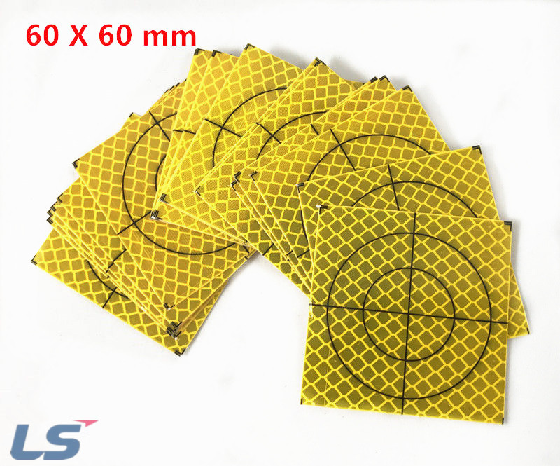 100 PCS 60X60mm Yellow Reflector Sheet For Total station
