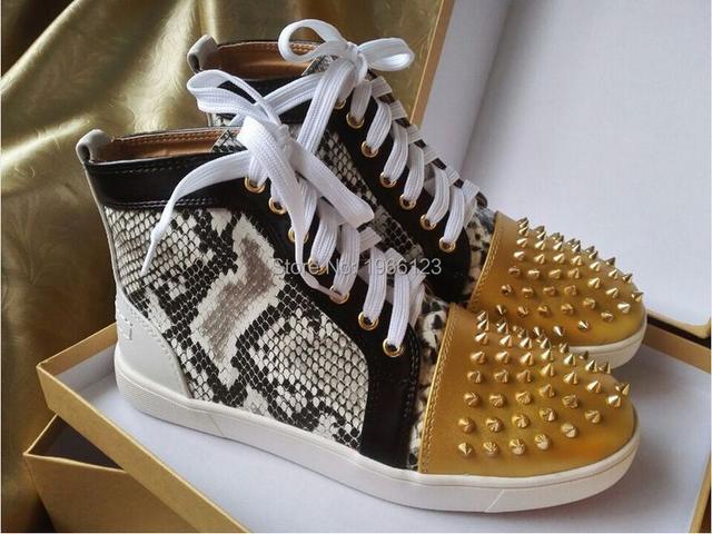 bf236af2771a 2015 Hot Gold Spike Toe Fashion Snakeskin Leather Men Brand Casual Shoes  Red Bottom High Top Men High Quality Casual Shoes