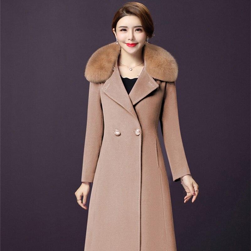 Woman Wool Fur Coat Jackets Female Fashion Women Woolen Long Coats High-end Elegant Long Slim Winter Jacket Femininos Plus Size