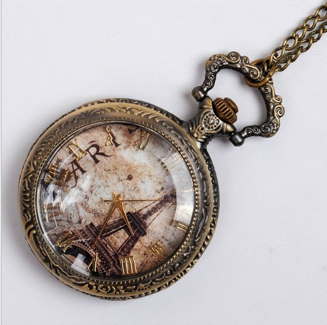 NEW Big Vintage Eiffel and triunf arch Paris Pocket Watch Necklace vintage old f