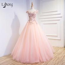Blush Pink Gold Embroidery A line Evening font b Dresses b font vestido de festa Off