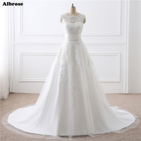 In Stock 2 Piece White Wedding Dress Short And Long Wedding Dresses Ivory Bridal Gown Chic