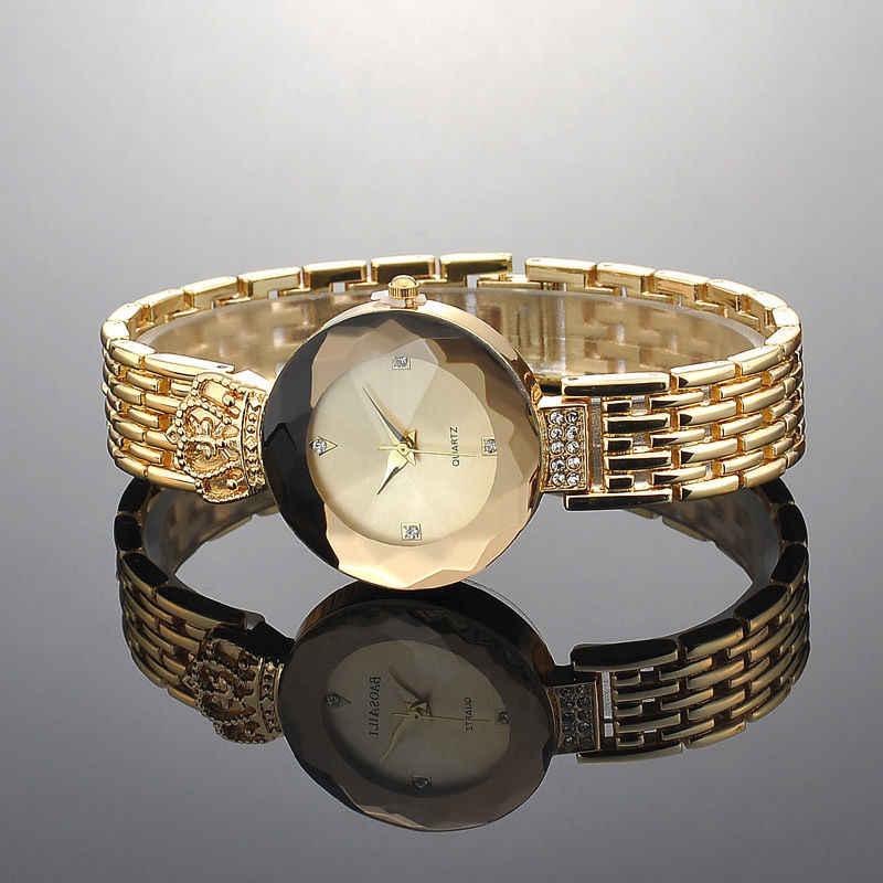 女性新しいギフトクォーツ時計高級ステンレス鋼レディークラウンラインストーン腕時計