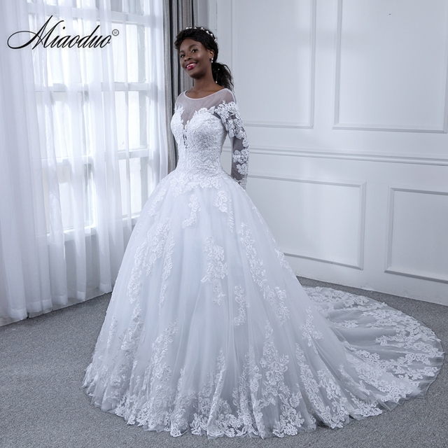 30873d0c3c US $142.12 24% OFF|Miaoduo Ball Gown Wedding Dresses 2019 Appliques Lace  Long Sleeves Bridal Gowns Wedding Dress Vestido De Novias South Africa  New-in ...