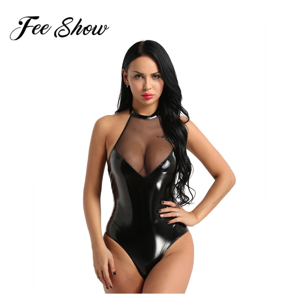 Women One-piece Wet Look Faux Leather Mesh Patchwork Lingerie Halter Neck Sleeveless Backless High Cut Teddy Bodysuit Nightwear