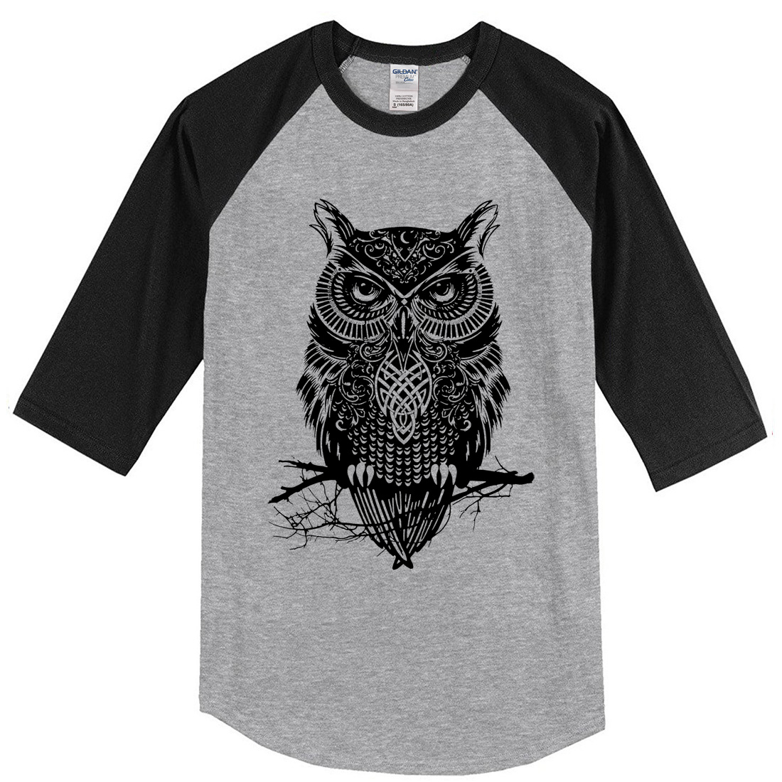 2019 Summer Men's T-shirts Three Quarter Sleeve Owl Casual Men's Sportswear Raglan T-shirt Brand Clothing Tops Casual T Shirt