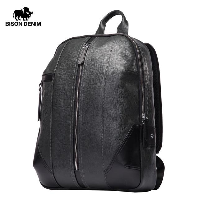 5dfaba2e60cf BISON DENIM Genuine Leather Men Backpack Male Designer School Backpack Men  S Travel Cowhide Backpack 15