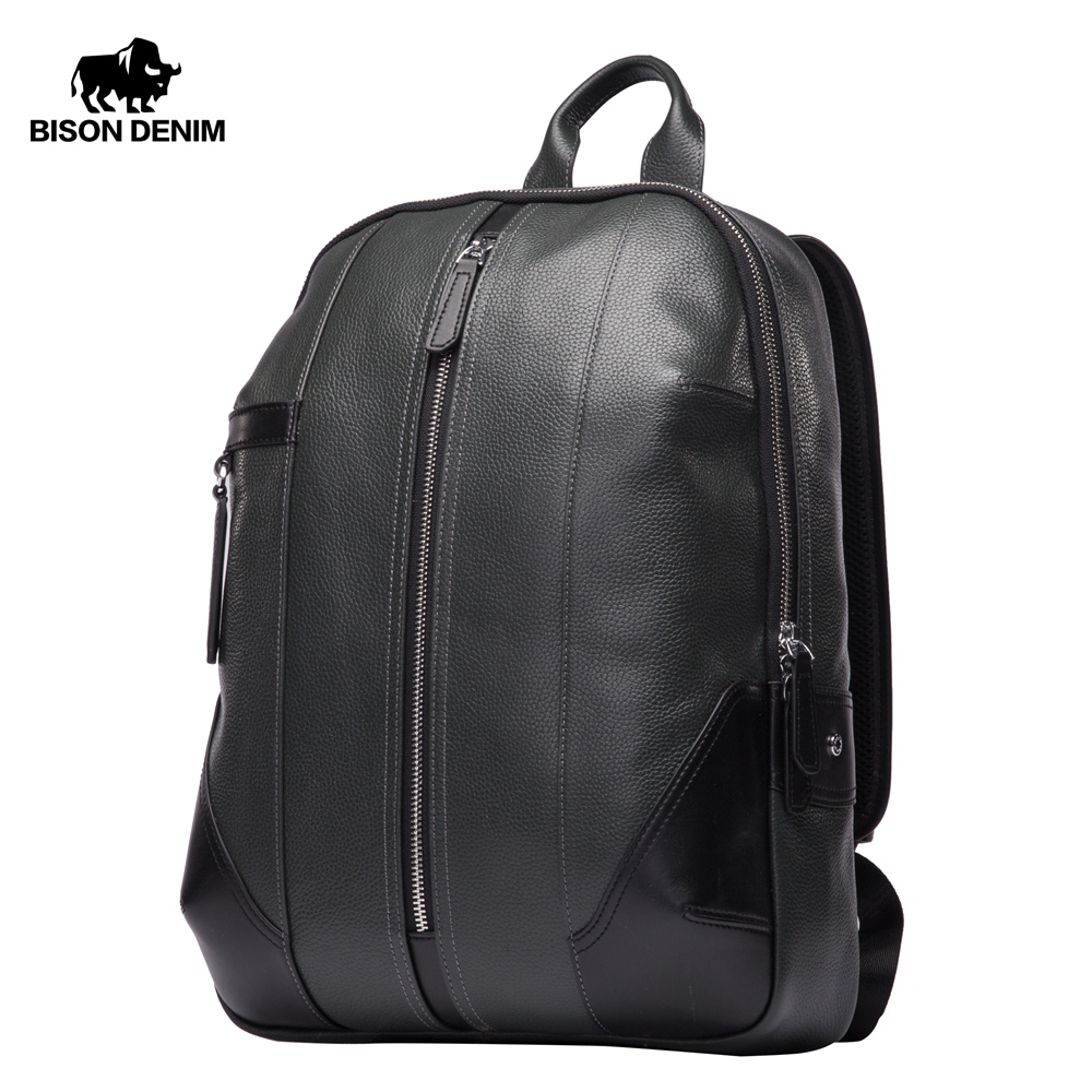BISON DENIM Genuine Leather Men Backpack Male Designer School Backpack Men's Travel Cowhide Backpack 15 Inches Laptop N2536